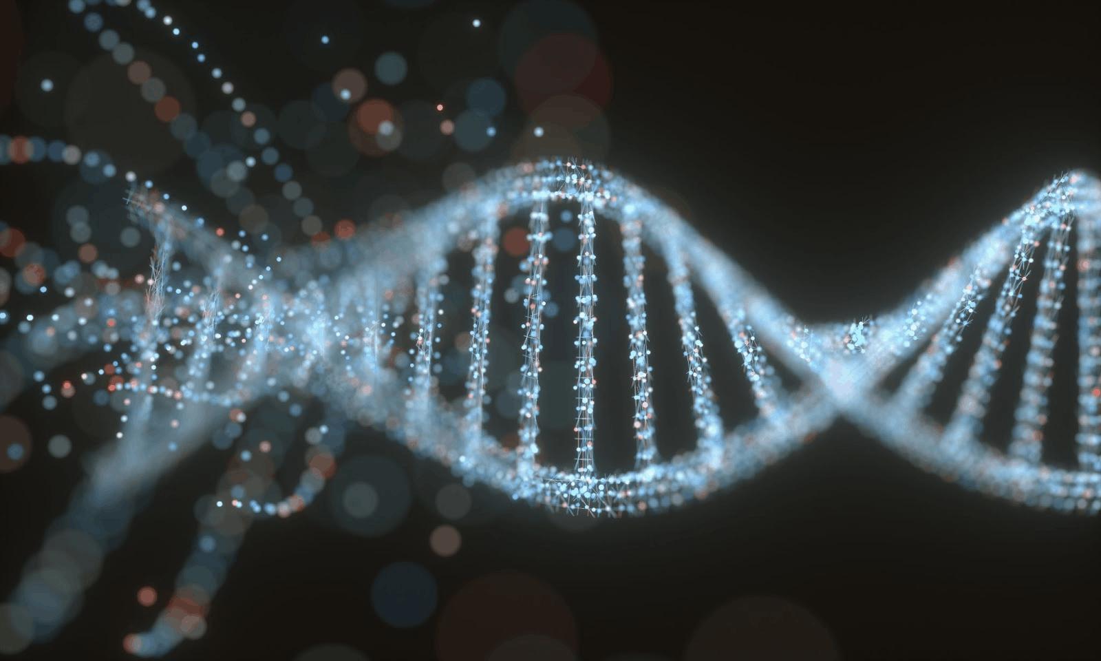 is hypothyroidism genetic: 3D illustration of a DNA molecule