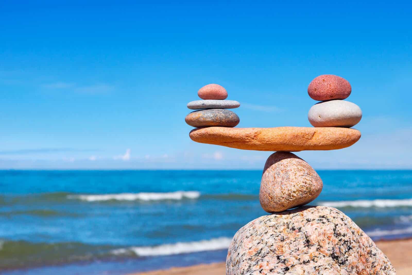 Balanced stones by the sea